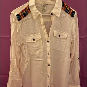 Long Sleeve Buttoned Shirt with Beads on Shoulders
